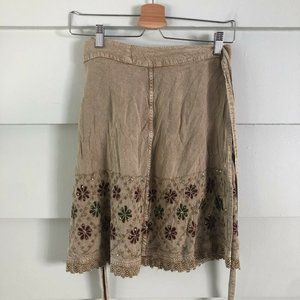 One Size SHORELINE Tan Wrap Skirt Embroidered